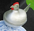 Vintage Silver Reverse Painting Glass HEN ON NEST w Red Comb Wattle Covered DISH