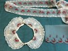 Vintage Embroidered Organdy Insertion Trim and Collar  French Lace Heirloom