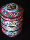 Antique Chinese Copper Peking Enamel Figural Hand Painted Stack Tiered Lunch Box