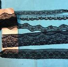 Antique Black Net Lace Edging Trim 4 pc Lot  10+ yds  Doll Craft Bears