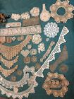Vintage Crochet Trim and Schiffli Lace Lot  39 pcs  Scraps Baby Doll Bear Craft