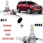 Car Front Cree LED Headlight Kit Bulb H11 9005 HB4 For GMC Acadia 2007-2012 Bea