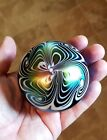 1978 Signed CRIDER Art Glass Pulled Feather Swirl Paperweight BLUE AURENE