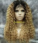 Human Hair Blend Long Curls Ombre Brown Blonde Full Lace Front Wig Hair Piece