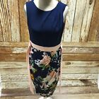NEW CLOSET Navy Peach Floral Print Dress Formal All Occasions Size UK10 176
