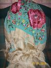Antique 1920 white Silk fabric on red roos silk hand Embroidered shawl spanish