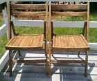 Vintage Antique Wood Oak Wooden Folding Chairs Set of 2 Probably 1940s or 50s