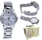 Burberry Watch Women BU9000 Silver Check Stamp Stainless Steel Link Band 38MM