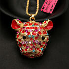 Betsey Johnson 3D Lovely Crystal Red Enamel Leopard Head Pendant Chain Necklacee