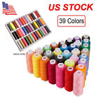 39 Spools Mixed Colors 100 Polyester Sewing Quilting Threads Set All Purpose US