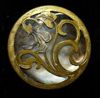 LARGE Antique Abalone PEARL Shell BUTTON IN Brass Art Deco LILY 1