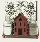 Saltbox House Salt Pepper Napkin Caddy, Metal, Country Red, Country Kitchen, New