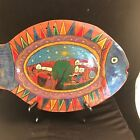 1950s Fish Terra Cotta Folk Art Village Scene Hand Made Pottery Mexico