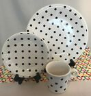 Fiestaware White Mulberry Polka Dot 3 Piece Place Set Fiesta Exclusive Dots NEW