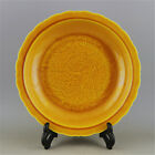 CHINESE OLD MARKED YELLOW GLAZE CARVE DRAGON PATTERN PORCELAIN FLOWER-EDGE PLATE