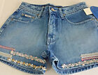 NWT RVT Serve Piping Hot High Rise 5 6 Embroidered Trim Jean Shorts RVT