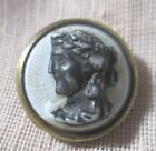 ANTIQUE WAISTCOAST BUTTON OF ROMAN MAN BUST ON WHITE GLASS w BRASS FRAME 11/16TH