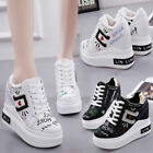 Womens High Top Wedge Heel Platform Sneakers Trainers Shoes Sports Outdoors New