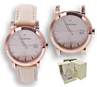Burberry Watch Women BU9109 Rose Gold Check Stamped Dial Nude Leather Strap 34mm