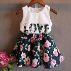 Girls Clothes School Skirts Flower Outfits 2pcs Children Toddler Kids Baby T Shi