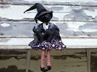 Primitive Halloween Grungy Black Witch Doll Ornie Shelf Sitter Decor
