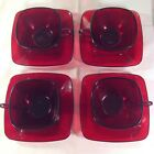 Set Of 4 Vintage Anchor Hocking ROYAL RUBY CHARM Square Cups And Saucers