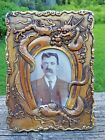 Antique Chinese Large Brass-Copper Dragon Horseshoe Picture Frame-7 3/4