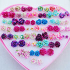 36Pair Chic Colorful Rose Ear-studs Resin Fiower Earrings Anti Allergy Jeweley
