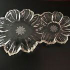 Vintage Clear Glass Petal Flower Shaped Wedding/Party/ Snack Luncheon Dish Plate
