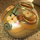 VINTAGE ORIENT & FLUME SNAKE GOLD HAND BLOWN GLASS PAPERWEIGHT 1977 FEATHER PULL