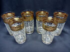 6 Culver Tyrol Gold Encrusted Highball Glasses Tumblers Barware Cocktail