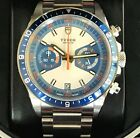 Pre Owned Tudor Heritage Chronograph Blue 70330B 42mm w/ Box, cards