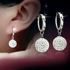 1Pair 925 Silver Plated Bling Rhinestone Zircon Crystal Ball arrings Ear Studs