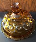 Vintage L E Smith Moon And Star large Amber Round Covered Butter or Cheese Dish