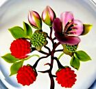BEAUTIFUL Super Magnum VICTOR TRABUCCO Berries & FLOWERS Art Glass PAPERWEIGHT