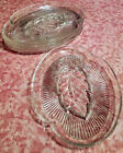 Four Federal Glass Clear Crystal Pressed Glass Leaf Snack/Lunch Plates - Vintage