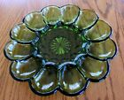 Fairfield Green Glass 12 Deviled Eggs Relish Oyster Dish 10 Inches