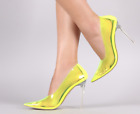 Cape Robbin NUCLEAR Neon Lime Yellow Transparent Pointy Toe Clear Heel Pump