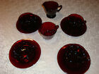 Lot of Ruby Red Coffee Cups Plates / Saucers  and Creamer