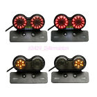 LED Motorcycle Twin Dual Tail Turn Signal Brake License Plate Integrated Light