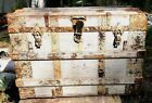 Antique Flat Top Wood And Metal Steamer Trunk