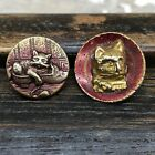 Two antique cat or kitten buttons circa late 1800's