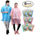 6 Pack PEVA Tear Resistant Thick Ponchos with Drawstring on Hood Disposable New