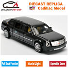 18CM Diecast Cadillac Presidential Limousine Scale Model Metal Toys Car Collect