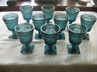 SET OF 10 INDIANA GLASS SMOKY BLUE COLONY PARK LANE FOOTED WATER GOBLETS NR