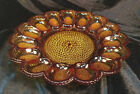 Vtg Indiana Amber Glass Hobnail Deviled Egg Plate Relish Plate Tray