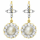 Antique earl earrings with European cut diamonds 3 cts set in 18kand silver