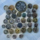 Assortment of 37 Victorian and Vintage Metal Buttons w Plant Life Images, Flower