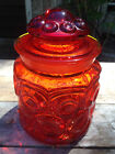 VINTAGE L E SMITH AMBERINA MOON AND STARS RED ORANGE SUGAR CANISTER JAR W LID