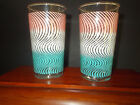 Turquoise Swirls on Clear Glass Drink Tumblers